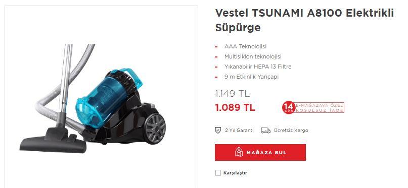 Vestel TSUNAMI A8100 Elektrikli Süpürge