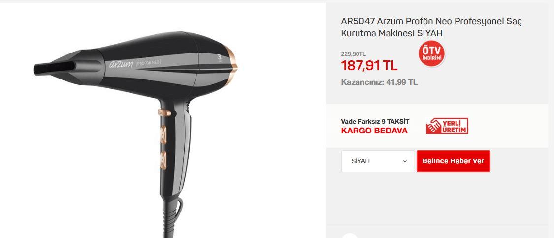 AR5047 Arzum Profön Neo Profesyonel Saç Kurutma Makinesi SİYAH