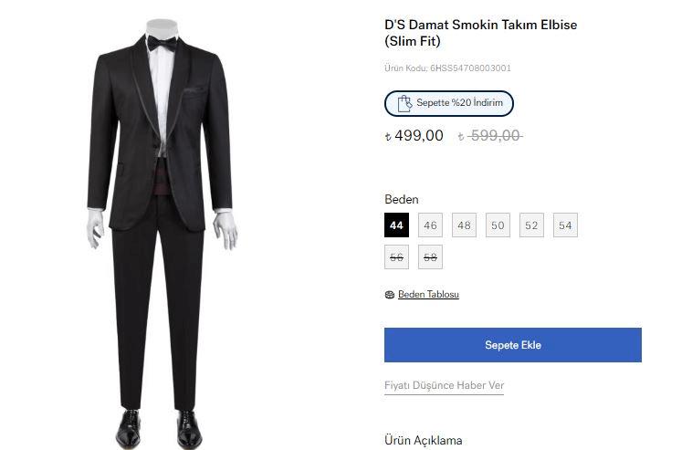 D'S Damat Smokin Takım Elbise
