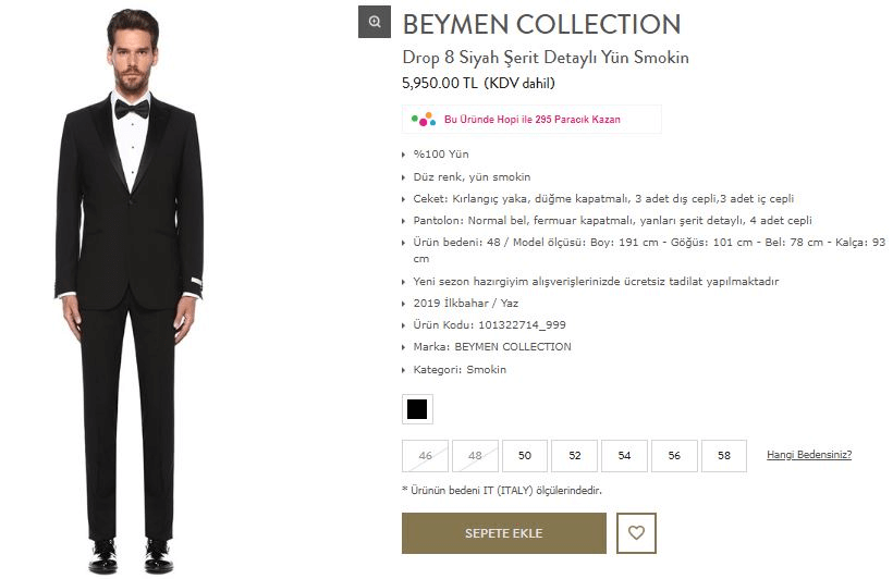 Beymen Collection Drop 8 Siyah Şerit Detaylı Yün Smokin