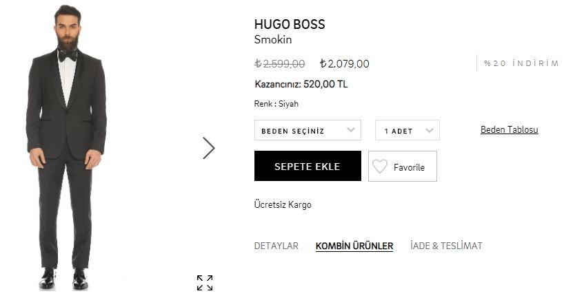 Hugo Boss Siyah Smokin