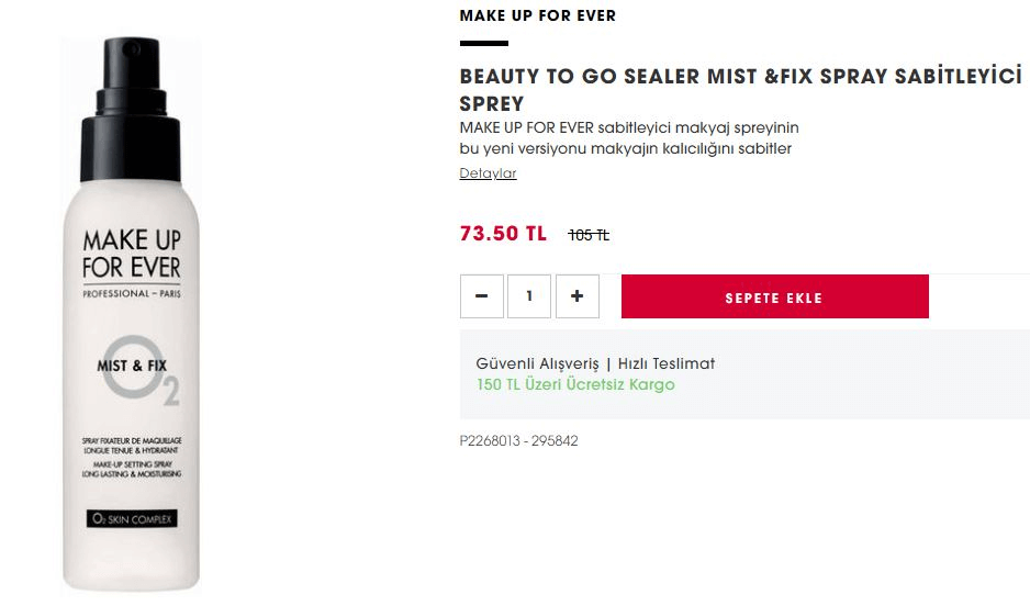 Make Up For Ever Beauty To Go Sealer MistFix Spray