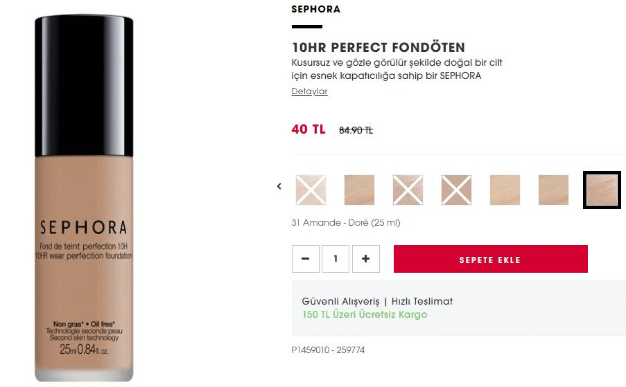Sephora 10HR Perfect Fondöten