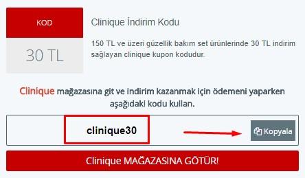 clinique indirim kodu