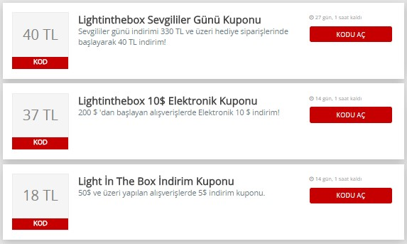 light in the box indirim kuponu